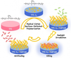 Radical Cation Initiated Surface Polymerization on Photothermal Rubber for Smart Antifouling Coatings